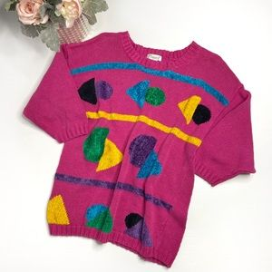 Vintage Pink Geo Shapes Sweater